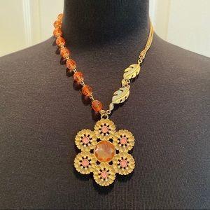 Charming Charlie Flower & Leaf Necklace